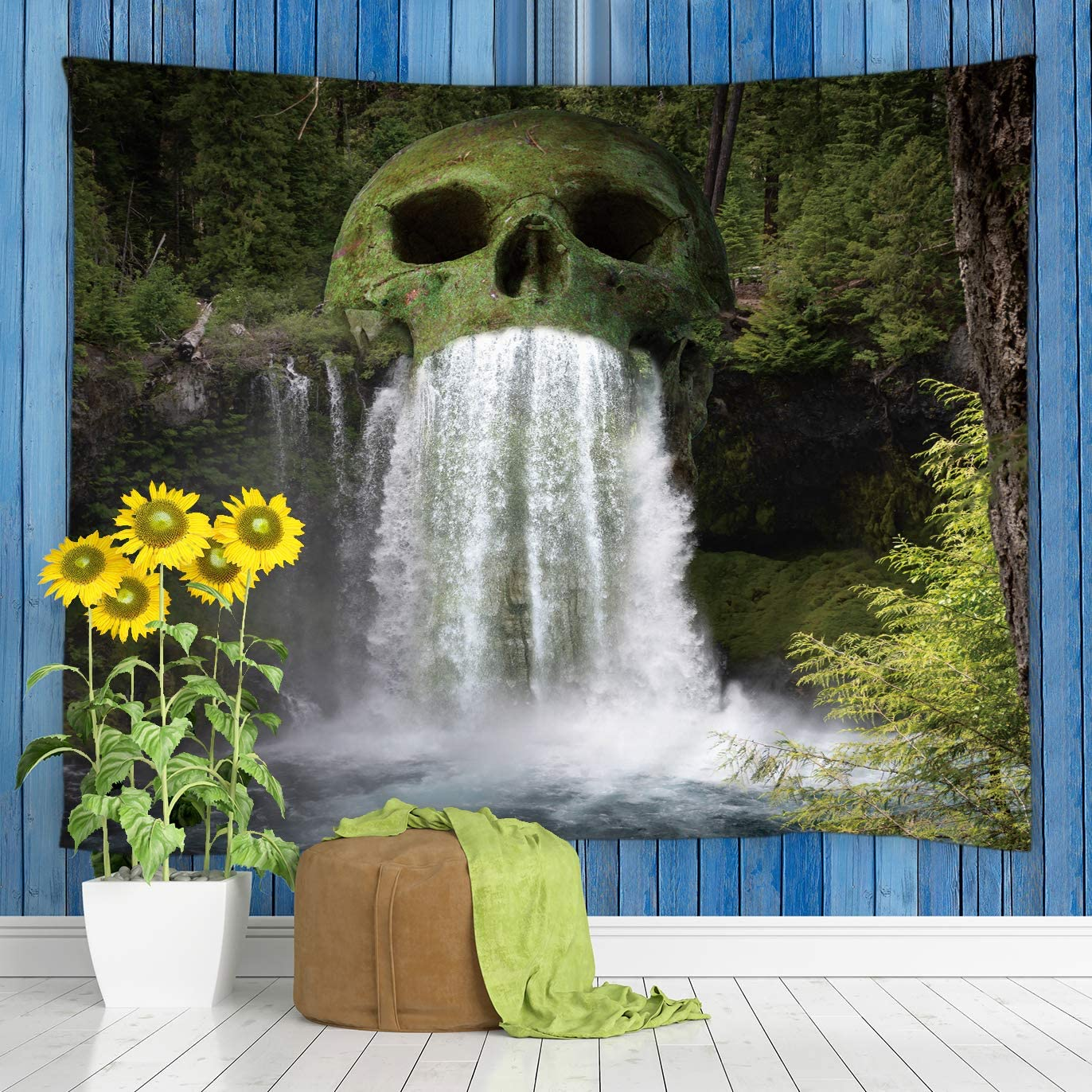 jingjiji Skull Mountain Tapestry Waterfall Scenic Natural Lake Water Lush Branches Horror Forest Tropical Island Exotic Wall Hanging Tapestries Bedroom Living Room Polyester Fabric 90 x 71 Inch Green