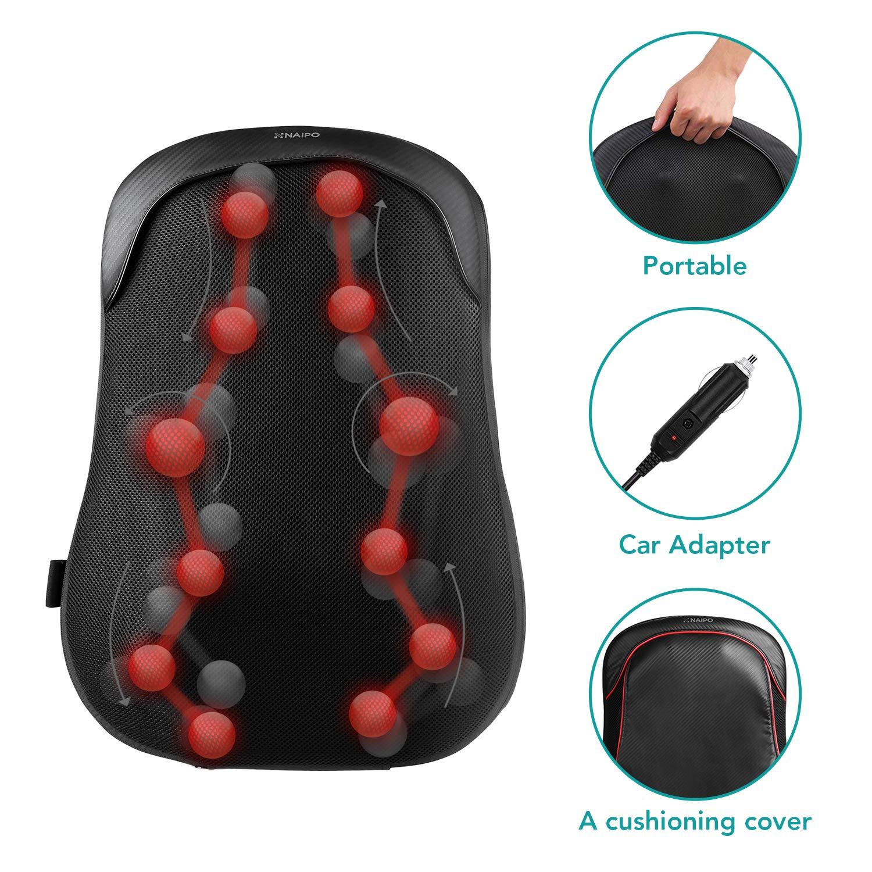 Naipo Cojín de sillón de masaje para espalda con tejido de ...