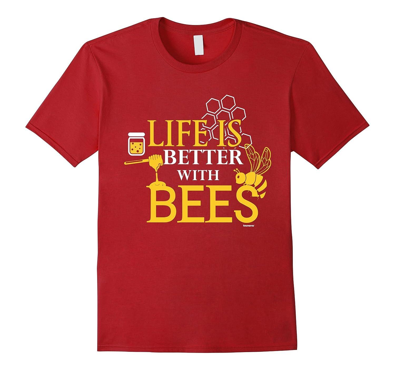 Beekeeper T-Shirt Life is Better With Bees Beekeeping Shirt-BN