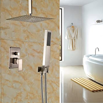 Rozin Bathroom Ceiling Mounted 12u0026quot; Rain Shower Head + Hand Spray Brushed  Nickel Shower Faucet