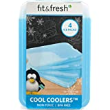 Fit & Fresh XL Cool Coolers Freezer Slim Ice Pack for Lunch Box, Set of 4, Large, Blue