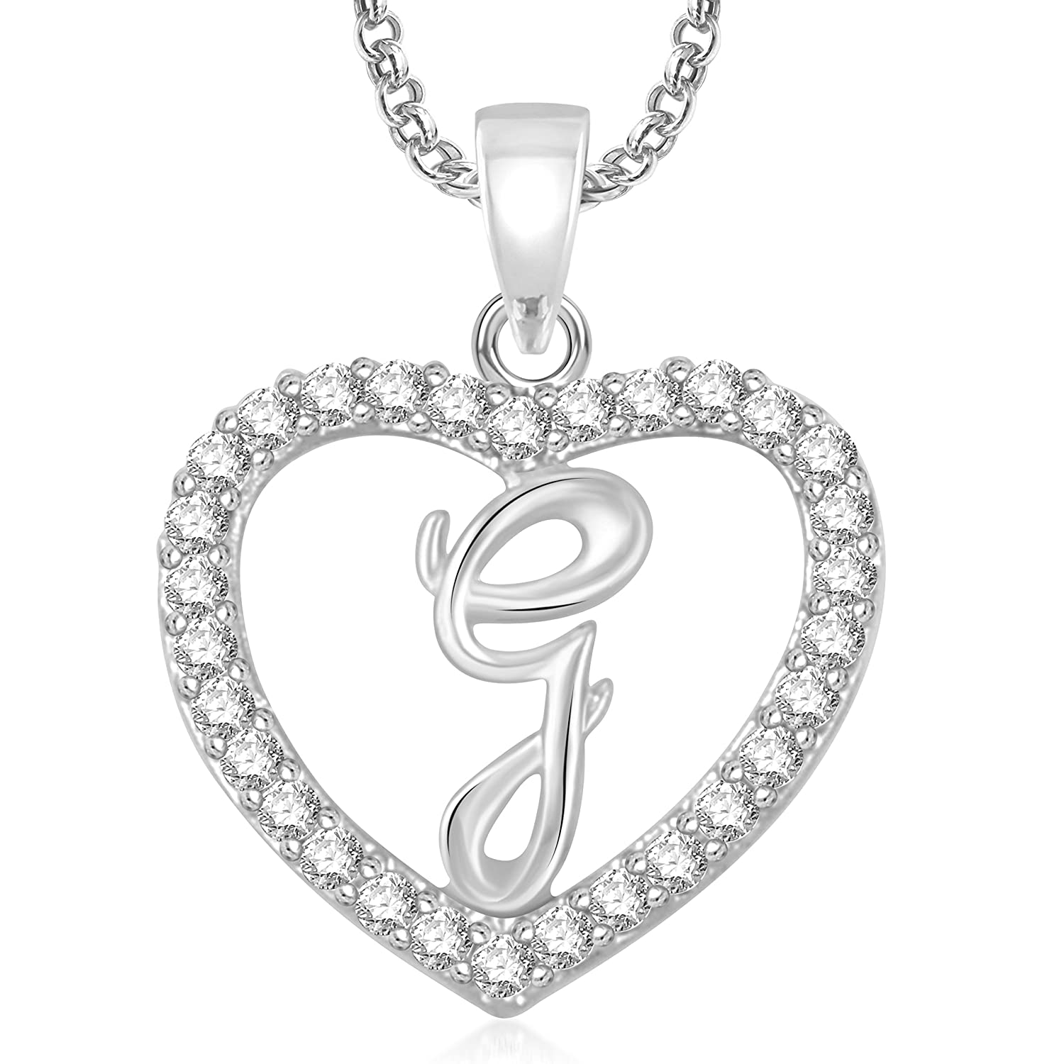 Buy meenaz silver plated g letter pendants alphabet pendant with buy meenaz silver plated g letter pendants alphabet pendant with chain for men women kids in ameriacan diamond cz jewellery online at low prices in aloadofball Images