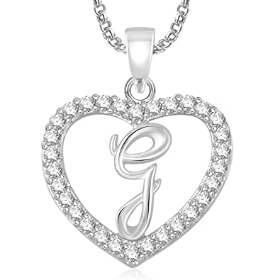 Buy meenaz silver plated g letter pendants alphabet pendant with meenaz silver plated g letter pendants alphabet pendant with chain for menwomen aloadofball Gallery