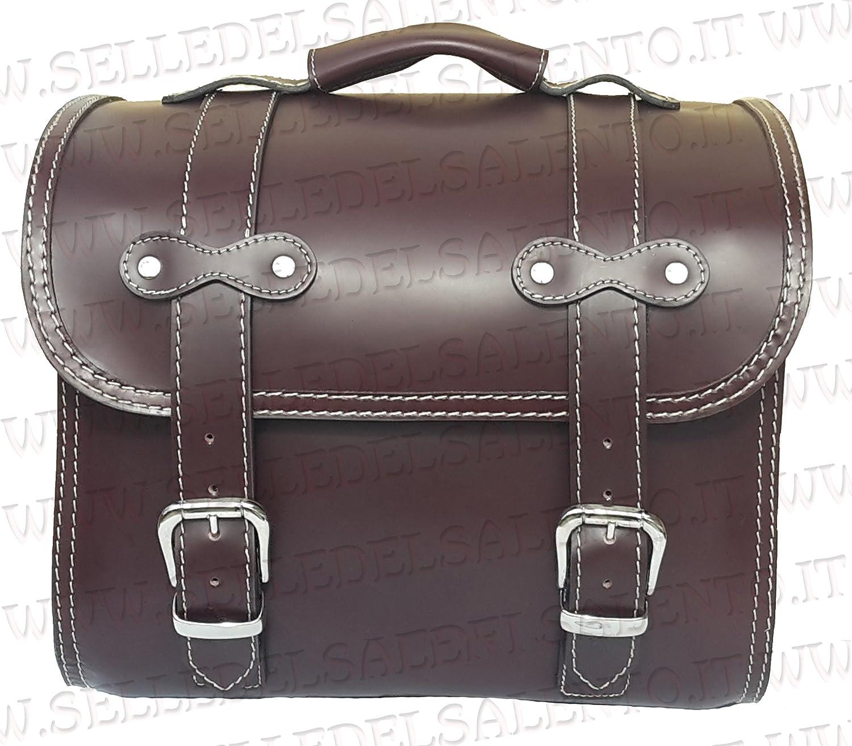 Bauletto borsone borsa Vespa px LML STAR LAMBRETTA portapacchi vera pelle col castagna valigia moto custom Selle del Salento
