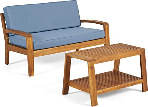 Christopher Knight Home Grenada Outdoor Acacia Wood Loveseat and Coffee Table Set with Water Resistant Cushions, Teak Finish Blue
