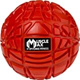 Muscle Max Massage Ball - Deep Tissue Massager For Trigger Point, Myofascial Release & Self Massage Comes With Travel Bag - Fire Red
