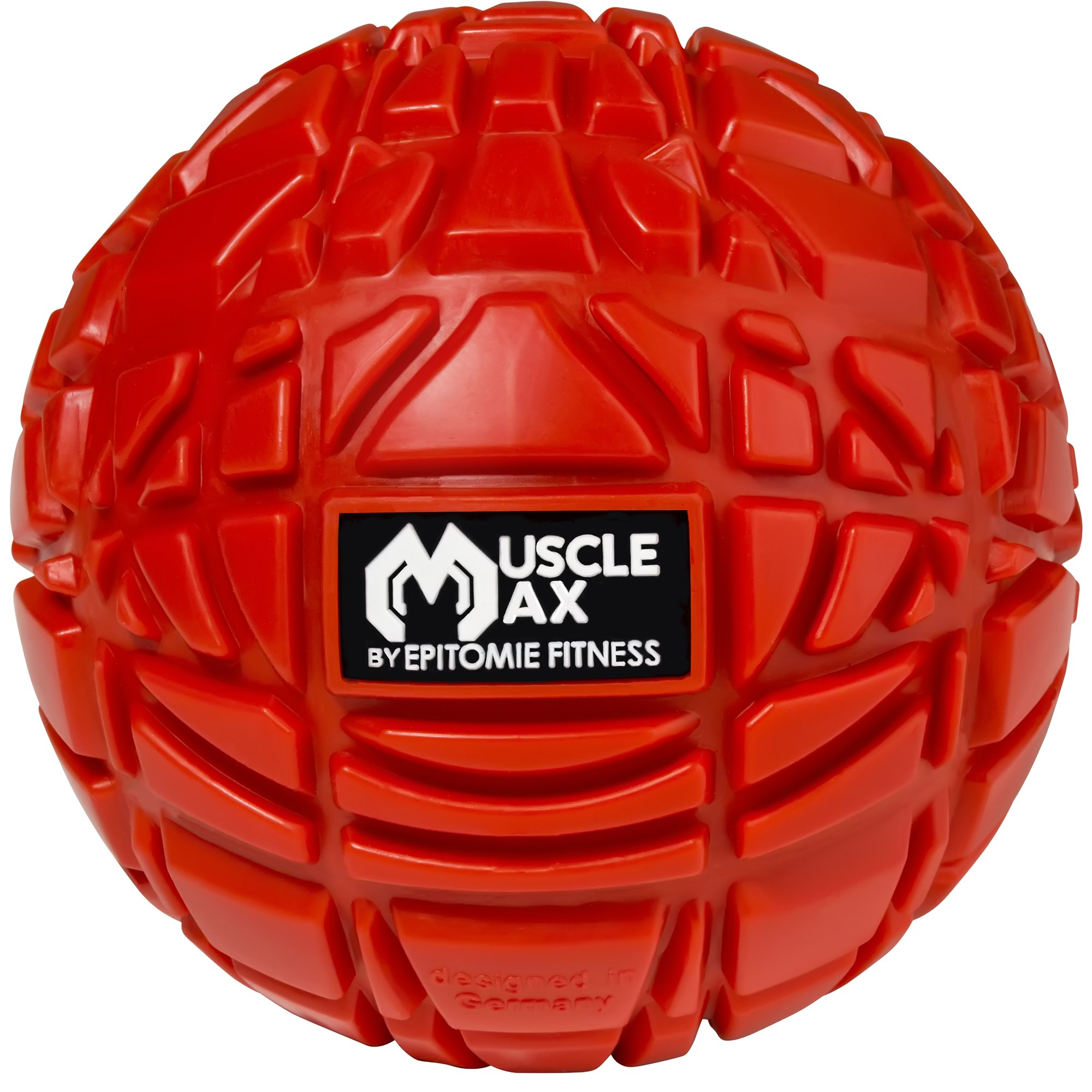 MuscMuscle Max Massage Ball - Therapy Ball For Trigger Point Massage | Deep Tle Max Massage Ball - Deep Tissue Massager For Trigger Point, Myofascial Release & Self Massage Comes With Travel Bag - Red