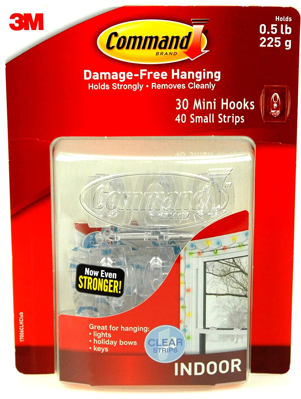 Command Mini Hooks 30 Pack Clear