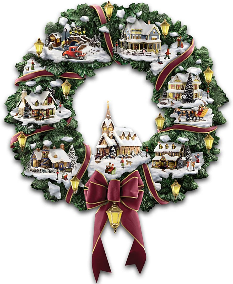 The Hamilton Collection Thomas Kinkade Victorian Christmas Village Wreath