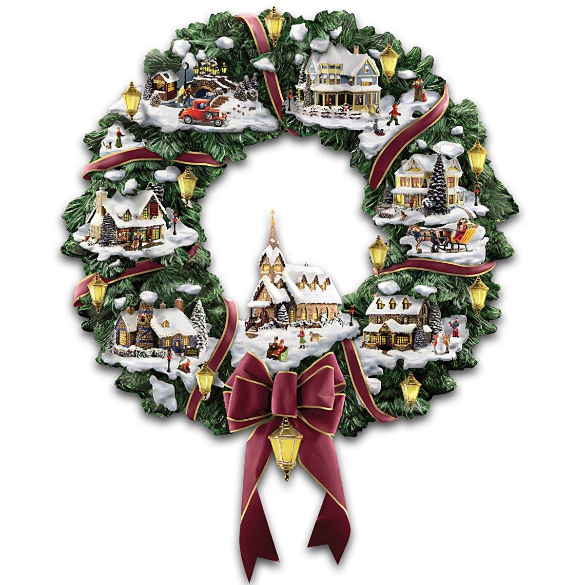 Thomas Kinkade Victorian Christmas Village Wreath by The Hamilton Collection