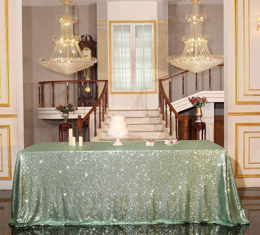 "PartyDelight Sequin Tablecloth, Wedding, Sweetheart, Christmas Tree, Rectangular, 48""x72"", Mint Green"