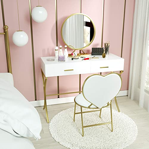 Mecor Vanity Set with Mirror,Wood Makeup Dressing Table with X Shape Metal Legs, Bedroom Vanity Desk and Heart Shape Cushioned Stool, Girls Women Bedroom Bathroom Furniture Set 2 Drawers White