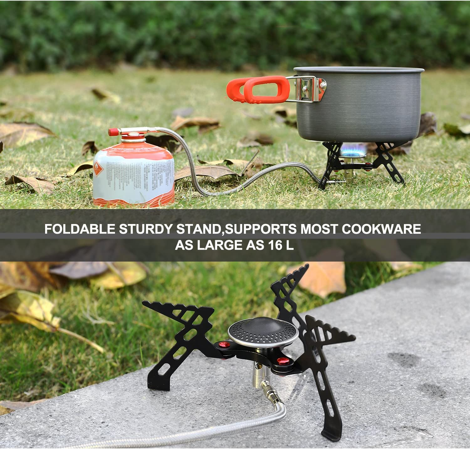 Andake Portable Camping Gas Stove Foldable Backpack Cooker with Carry Bag Energy Efficient Camping Stove Super Stable /& Wind-resistant