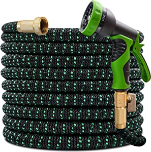 """Expandable Garden Hose 50ft Expanding Flexible Water Hose with 9 Function Spray Nozzle, 3/4"""" Solid Brass Connector, Extra Strength 3750D Fabric, Retractable Yard Garden Hose for Watering & Washing"""
