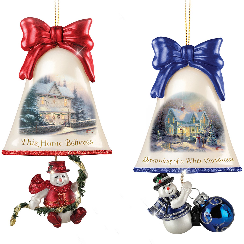 Bradford Exchange Christmas Ornaments: Thomas Kinkade Ringing In The Holidays Ornament Set: Set 3