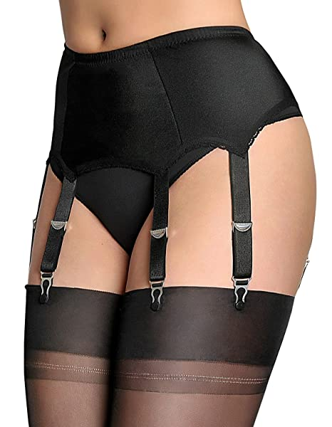 Nylon Dreams NDL8 Womens Black Solid Colour Lace Garter Belt 6 Strap Suspender Belt