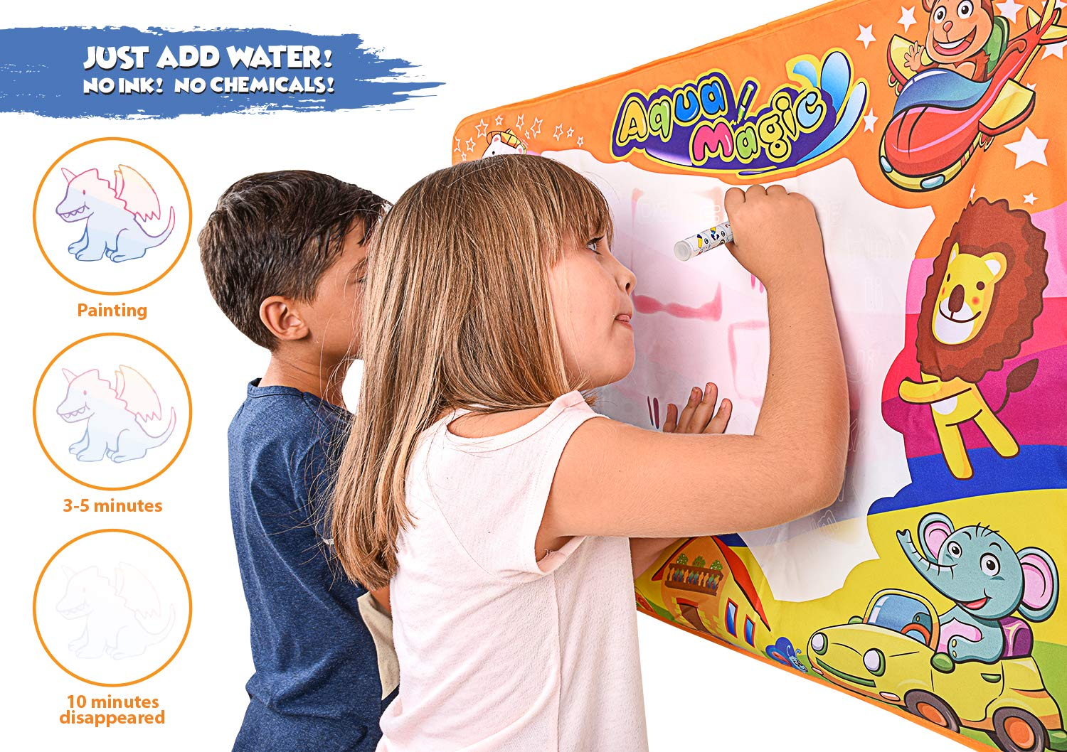 Educational Painting | Magic Aqua Doodling Board w// 2 Magic Pens /& 1 Brush for Boys /& Girls 34.5/'/' x 22.5/'/' Homey homes inc. Large Water Drawing Mat for Kids Doodle /& Writing Mat Great Gift Idea Age 2 and up