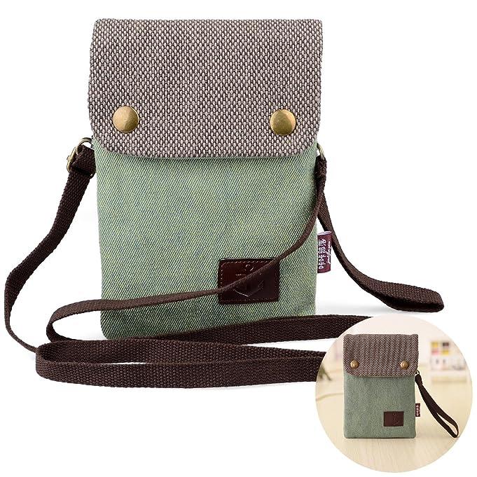 b47cb2d491 Girls Women Mini Cute Crossbody Bag Wristlet Cellphone Wallet Purse Candy  Green Loose Change Pouch for iPhone X 8 7 Plus