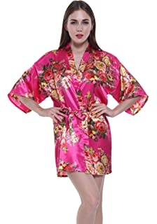 551aa278f8 JOYTTON Women s Satin Floral Kimono Wedding Bridesmaid Getting Ready Robe  Short