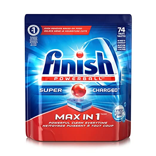 Finish Max in 1 Powerball, 74 Tablets, Super Charged Automatic Dishwasher Detergent, Fresh Scent