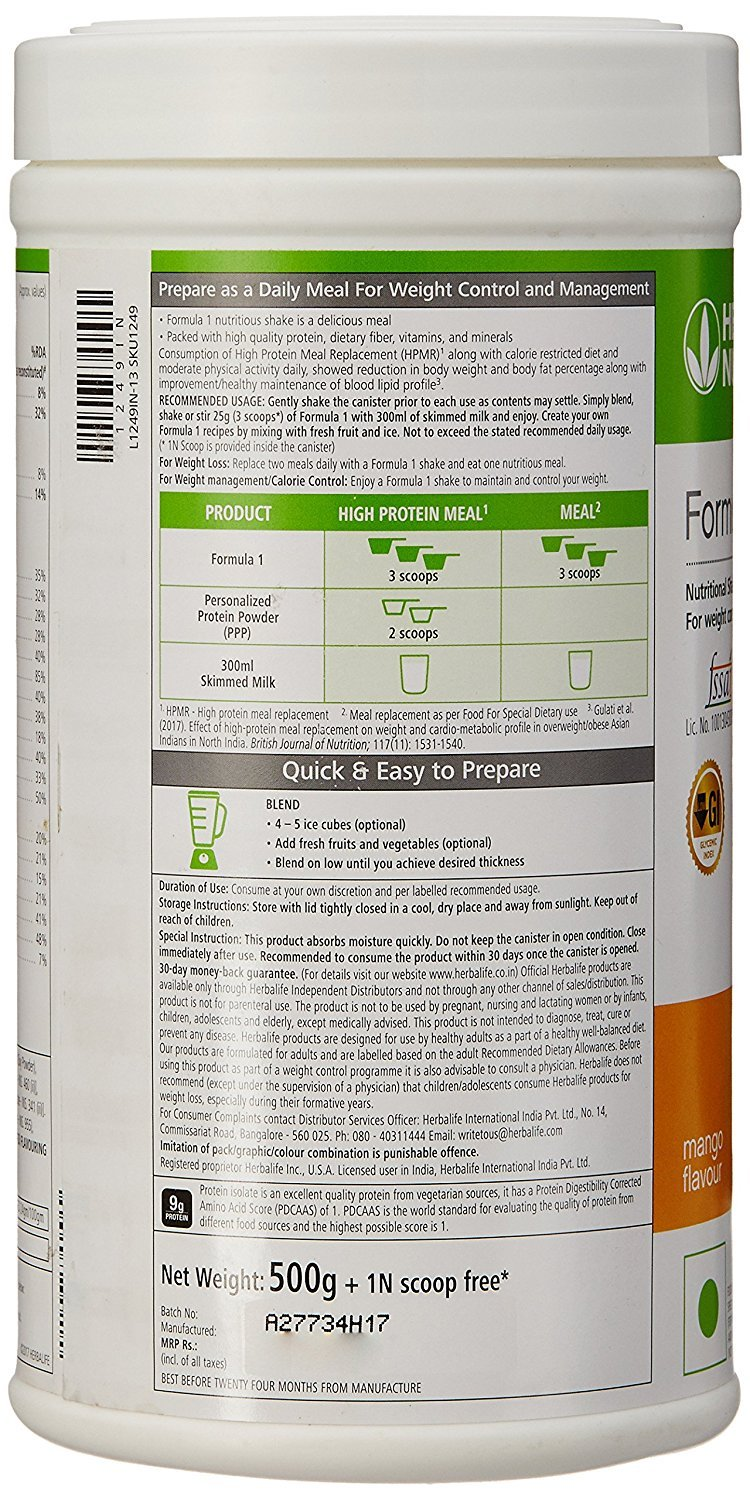Amazon.com: Herbalife Formula 1 Shake Nutritional Mix - 500 Grams - Healthy F1 Nutritional Meal Replacement Protein Powder Diet - Weight Loss Supplements ...