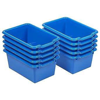 Merveilleux ECR4Kids Scoop Front Storage Bins, Blue (10Pack)