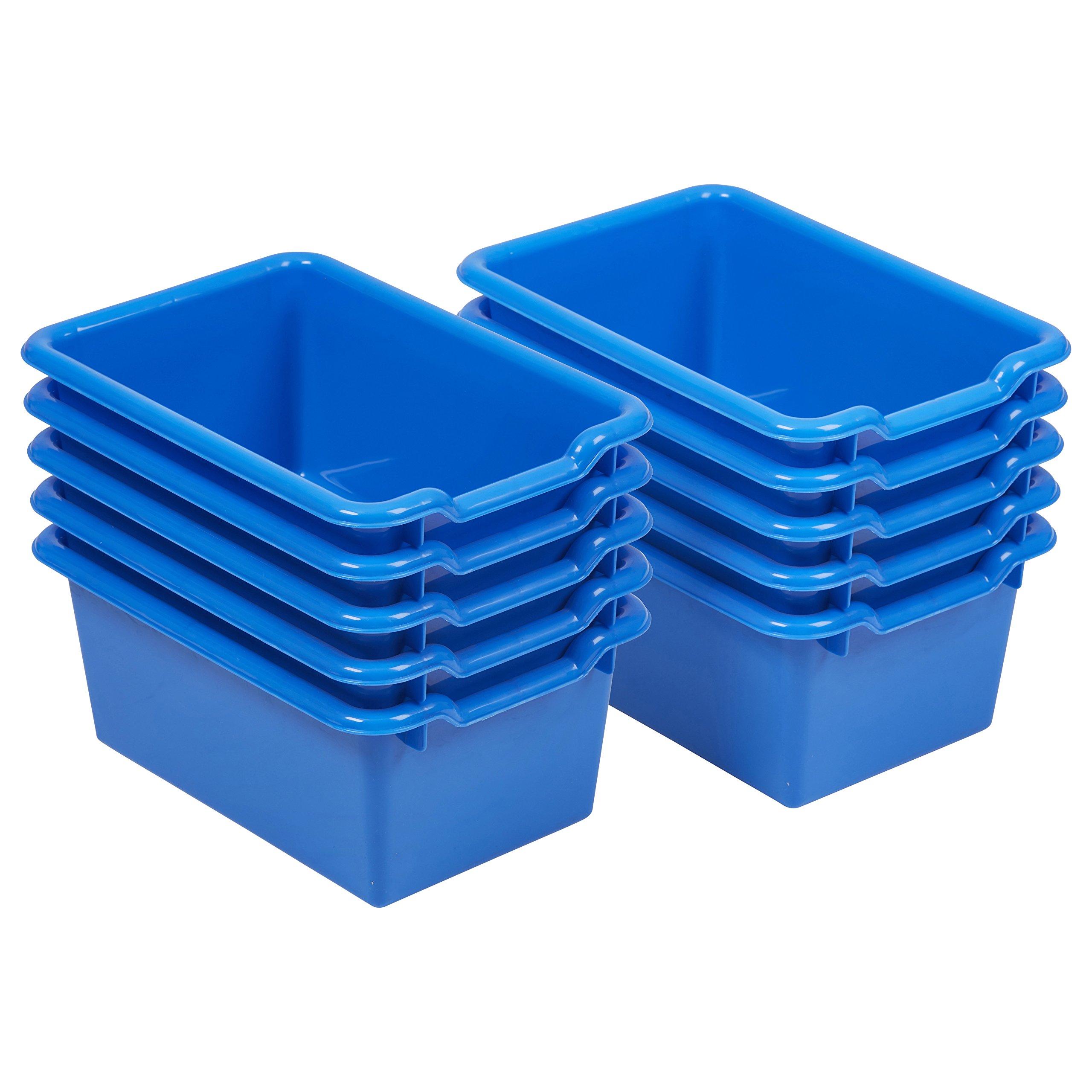 ECR4Kids Scoop Front Storage Bins, Blue (10Pack)
