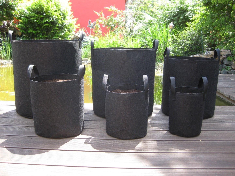 Growtent Garden Grow Bags/Aeration Fabric Pots w/Handles/8-Pack 5 Gallon(Black)