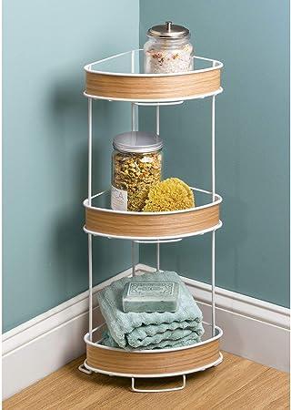 InterDesign RealWood étagère originale de salle de bain, étagère sur pied  compact en métal avec des accents en bois, blanc / couleur bois