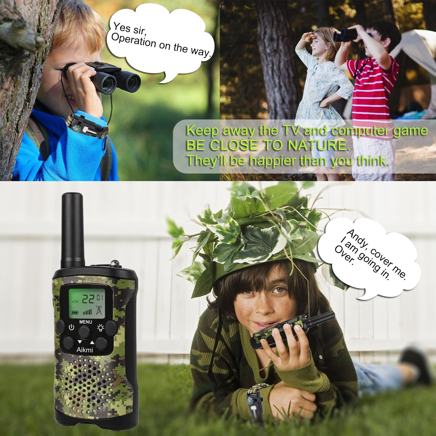Walkie Talkies for Kids 22 Channel 2 Way Radio 3 Miles Long Range Handheld Walkie Talkies Durable Toy Best Birthday Gifts for 6 year old Boys and Girls fit Outdoor Adventure Game Camping (Green Camo) by Aikmi (Image #3)