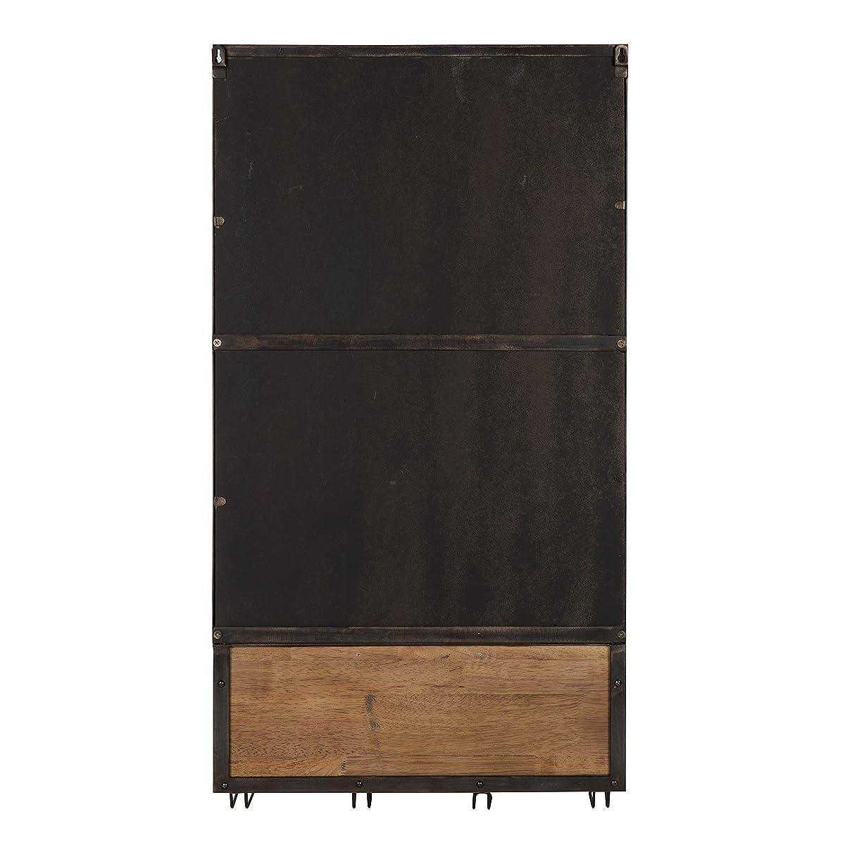 Kate and Laurel Coburn Distressed Metal Mirror with Wood Shelf and Hooks, Black