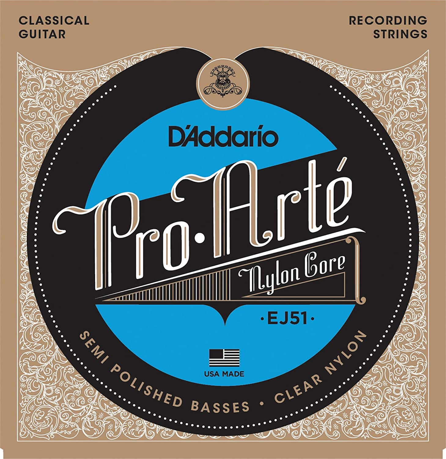 D'Addario EJ51 Pro-Arte Classical Guitar Strings with Polished Basses, Hard Tension D'Addario