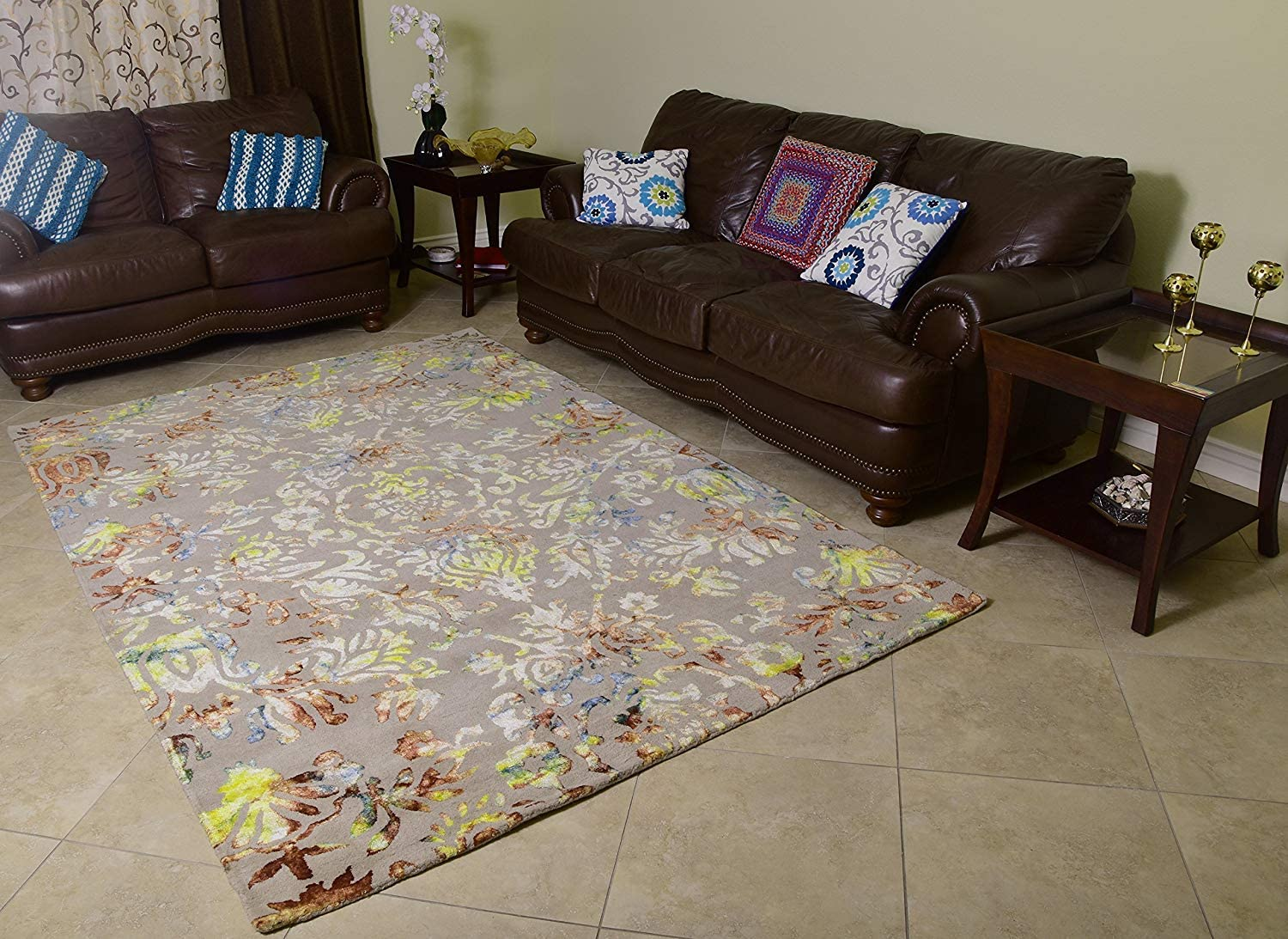 Amazon Com Mystiquedecors Wool Viscose Area Rug 6x9 Hand Tufted Beige Base With Multi Color Floral Design Rich Contemporary Style Carpet Living Room Bedroom Dining Rugs Home Kitchen