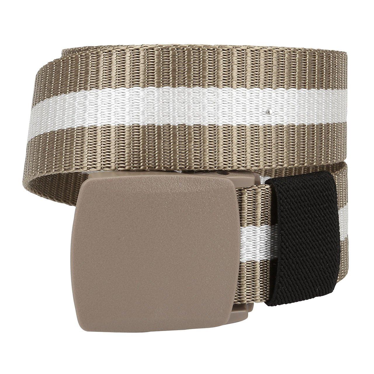 Ayliss Mens Military Webbing Nylon Belt Hypoallergenic Plastic Automatic Buckle,Beige Stripes
