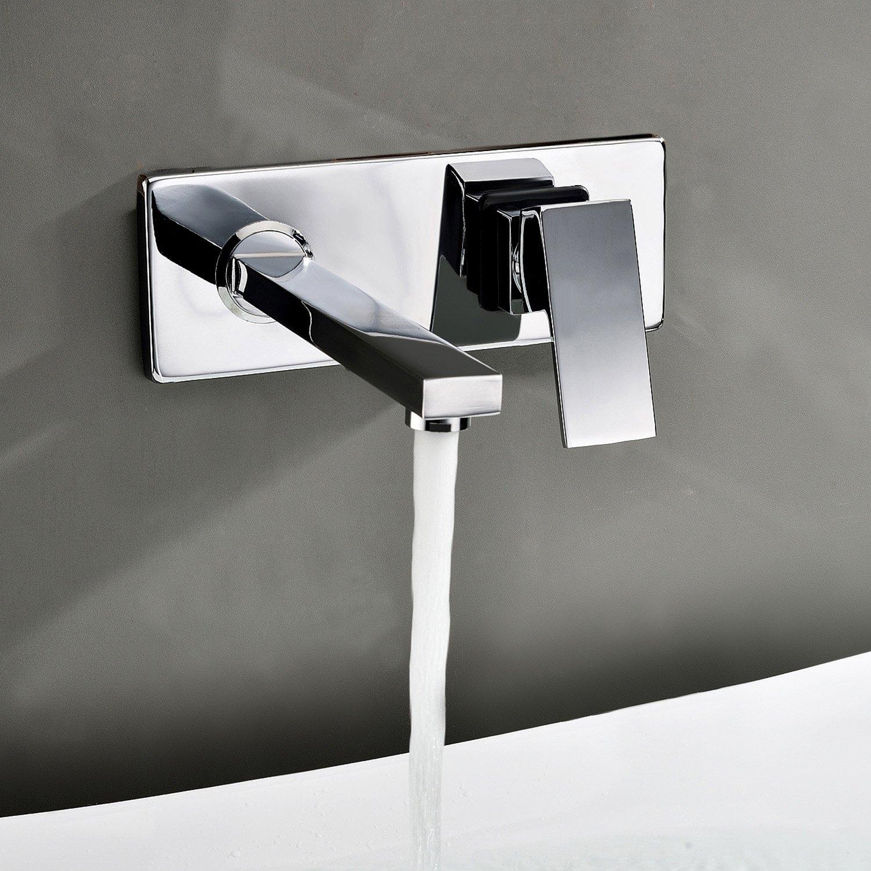 Lightinthebox Contemporary Wall Mount Bathroom Sink Faucet Chrome Finish Long Curve Spout Single Handle Hole Cover Bathtub Mixer Taps Lavatory Bath Shower Roman Tub Faucets Long Spout Bar Faucets Plumbing Fixtures Solid Brass Valve Included