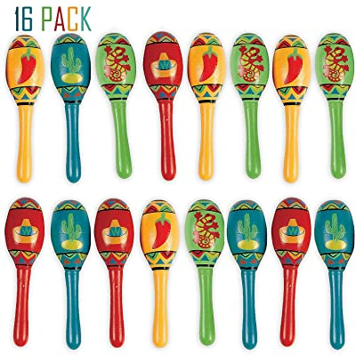 Bulk 16 Mini Wooden Maracas Mexican Fiesta Cinco de Mayo Party Favor, Great for Decorations, Noisemaker Toys, 4 Different Styles, Bright Colors, 5 Inches, For Kids, Boys, Girls, By 4E's Novelty: Toys & Games