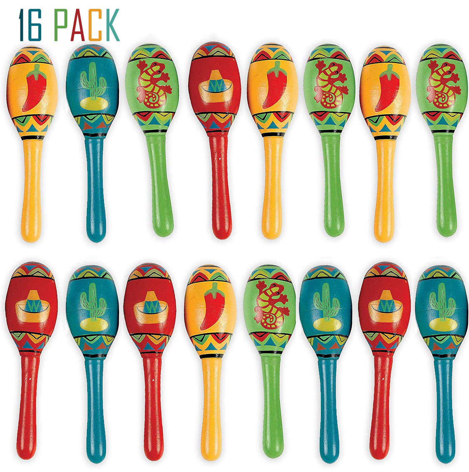 Bulk 16 Mini Wooden Maracas Mexican Fiesta Cinco de Mayo Party Favor, Great for Decorations, Noisemaker Toys, 4 Different Styles, Bright Colors, 5 Inches, For Kids, Boys, Girls, By 4E's Novelty by 4E's Novelty