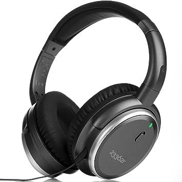H501 ANC Auriculares con Activo Cancelación de Ruido, Headphones Estéreo de Diadema Cerrados con Control Micrófono y Volumen en Línea, con Funda, 50