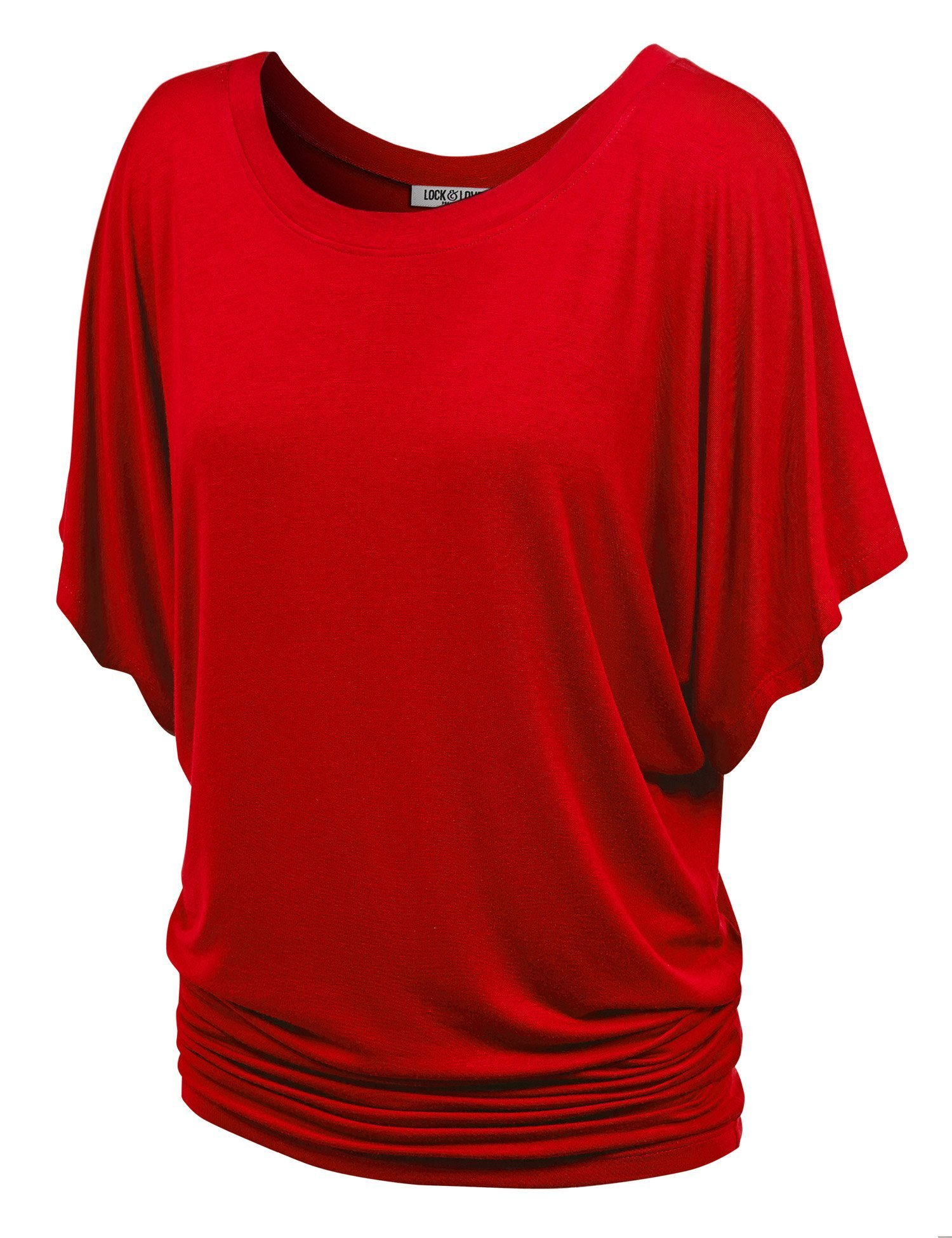WT742 Womens Boat Neck Short Sleeve Dolman Drape Top XXXL RED