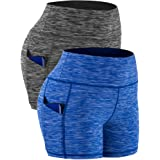 CADMUS High Waist Athletic Shorts for Womens Yoga Fitness Workout Running Shorts with Deep Pockets