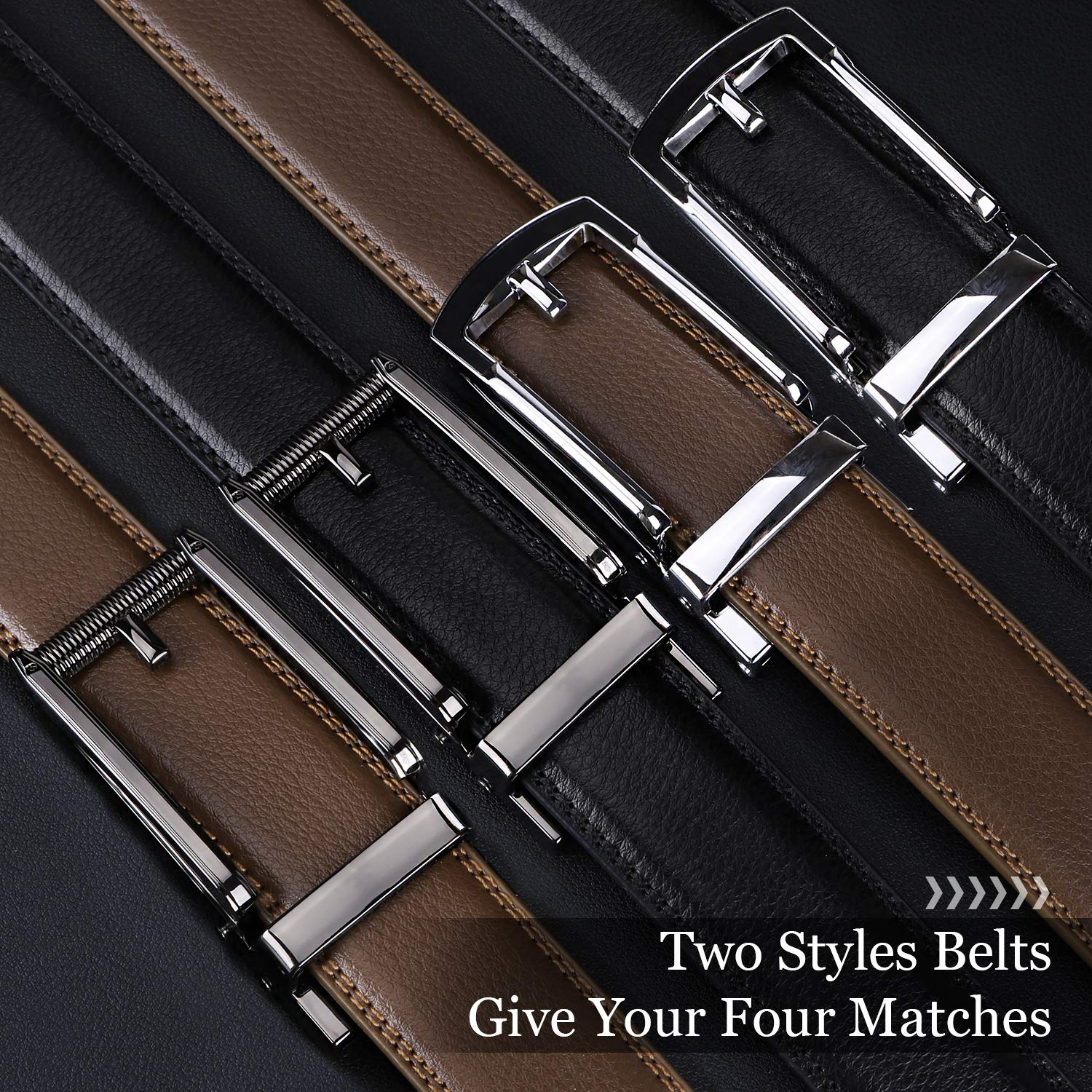 WERFORU Set of 2 Leather Ratchet Dress Belt for Men Perfect Fit Waist Size up to 44 inches with Automatic Buckle