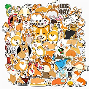 Welsh Corgi Pembroke Stickers for Water Bottles 50 Pack Cute,Waterproof,Aesthetic,Trendy Stickers for Teens,Girls Perfect for Waterbottle,Laptop,Phone,Travel Extra Durable Vinyl (Welsh Corgi Pembroke)