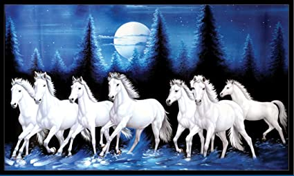 Graphics Worldvastu Poster White 7 Horse Wall Painting vinayl Sticker Poster, Wall