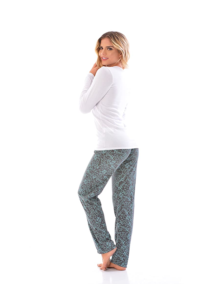 Womens Pajama Pants & Long Sleeve SET / 2 Piece PJ Matching Long Sleeve Top and Pants at Amazon Womens Clothing store: