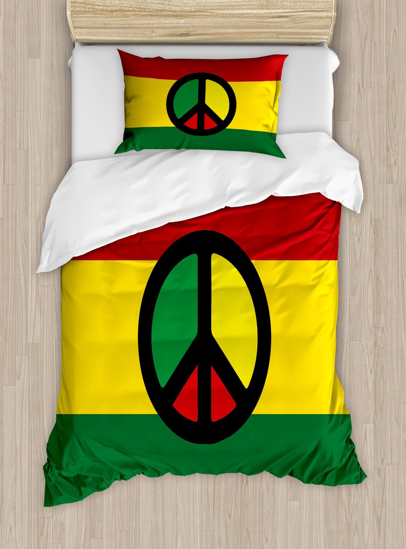 Ambesonne Jamaican Duvet Cover Set Twin Size, Reggae Culture Peace Symbol Caribbean Country Flag Design Americas Rasta Culture, Decorative 2 Piece Bedding Set with 1 Pillow Sham, Multicolor