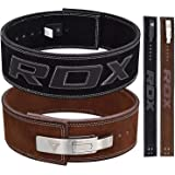 """RDX Powerlifting Belt for Weight Lifting - Approved by IPL and USPA - Lever Buckle Gym Training Leather Belt 10mm Thick 4"""" Lumbar Back Support - Great for Strongman, Bodybuilding, Deadlifts & Squat"""