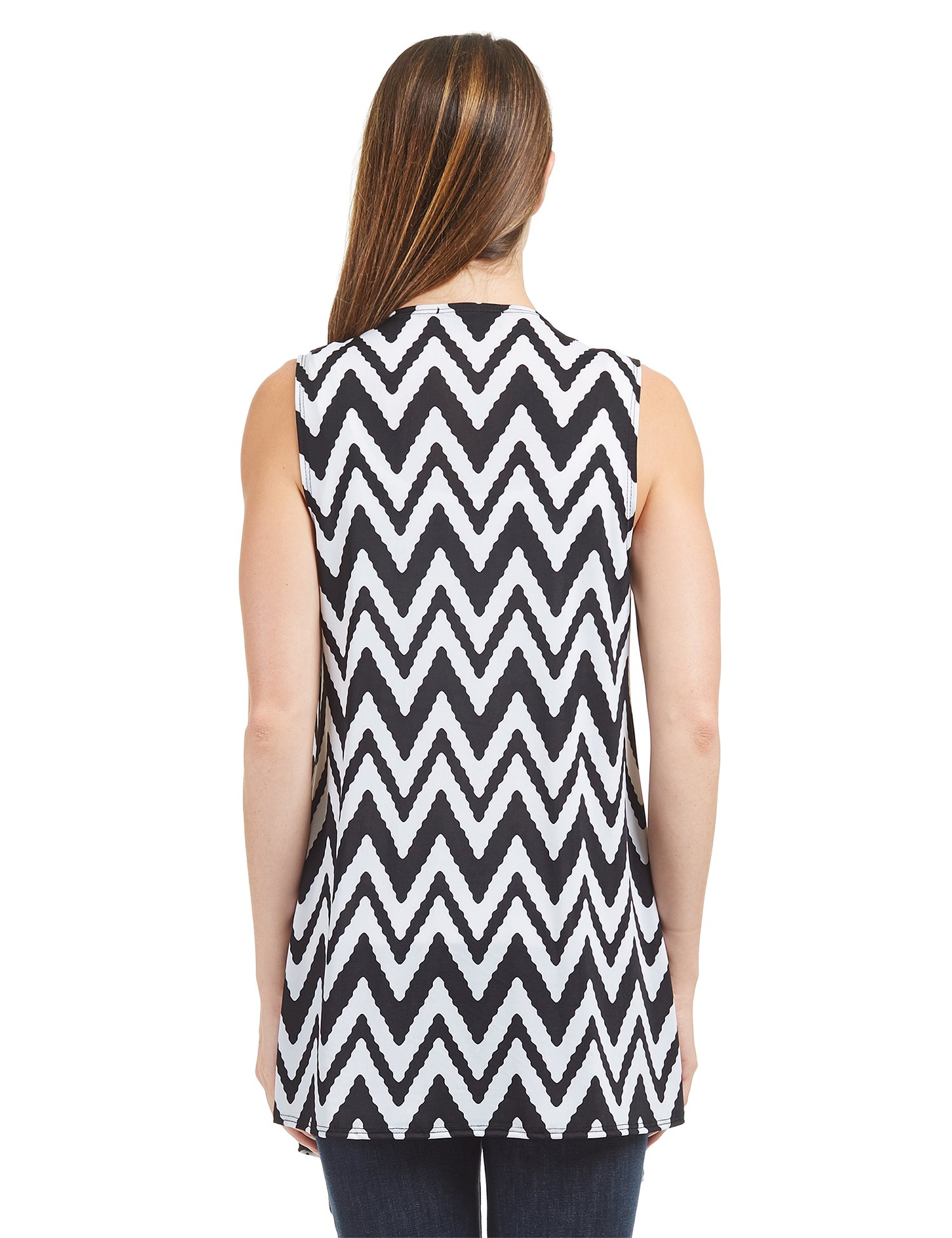 Lock and Love WSK1350 Womens Lightweight Print Draped Sleeveless Cardigan XXXL CHEV_Black by Lock and Love (Image #4)