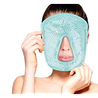 Hot and Cold Therapy Gel Bead Full Facial Mask by FOMI Care   Ice Face Mask for Migraine Headache, Stress Relief   Reduces Eye Puffiness, Dark Circles   Fabric Back (Full Face w/o Eye Holes)