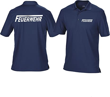 Funcional-camisa Polo azul marino, bomberos con una