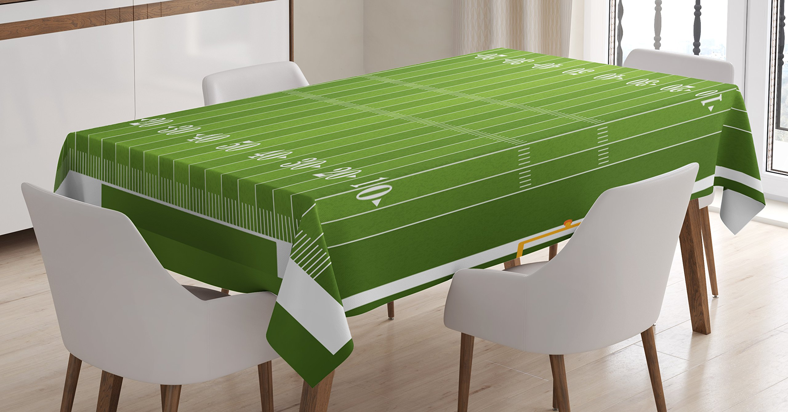 Ambesonne Football Tablecloth by, Sports Field in Green Gridiron Yard Competitive Games College Teamwork Superbowl, Dining Room Kitchen Rectangular Table Cover, 60 W X 84 L Inches, Green White